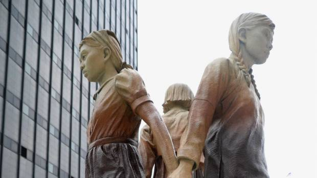 A statue of young girls, erected as a memorial to so-called comfort women, is seen Wednesday in San Francisco.