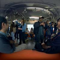 One of the virtual reality simulations created by Tokyo-based apartment operator Silver Wood Corp. allows viewers to experience what it is like for someone with dementia to travel by train.   COURTESY OF SILVER WOOD CORP.