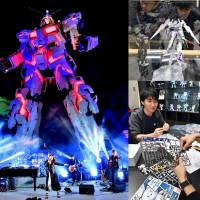 Left: Singer Tielle sings a Gundam song with her band in front of the full-scale Unicorn Gundam statue at Diver City Tokyo in Koto Ward's waterfront area on Sept. 23. Upper Right: Tourists from Thailand gaze at plastic Gundam models displayed at Gundam Base Tokyo in Diver City Tokyo on Oct. 14. Visitors from Sendai assemble plastic models at Gundam Base Tokyo.  | YOSHIAKI MIURA