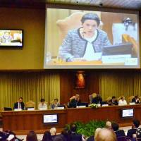 Masako Wada, a ranking member of the A-bomb survivors group Nihon Hidankyo, addresses a symposium on abolishing nuclear weapons at the Vatican on Saturday. | KYODO