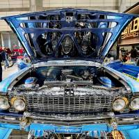 'Thug Player,' a 1963 Chevrolet Impala convertible, is displayed at the Lowrider Super Show in Makuhari Messe in Chiba Prefecture earlier this month.   YOSHIAKI MIURA