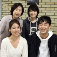 Kodomo Pia, a group offering support for children of mentally ill parents, will be officially launched in January. The group includes deputy leader Ayuna Kobayashi (front left), leader Taku Sakamoto (front right), founder Keiko Yokoyama (back left) and Masako Kageyama.   KYODO