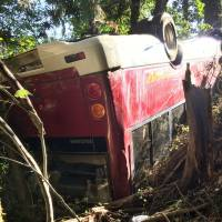 A minibus rests upside down in a wooded area in Izumisano, Osaka Prefecture, on Monday after it tumbled off a narrow road. The accident left all 18 people aboard with minor injuries. | KYODO