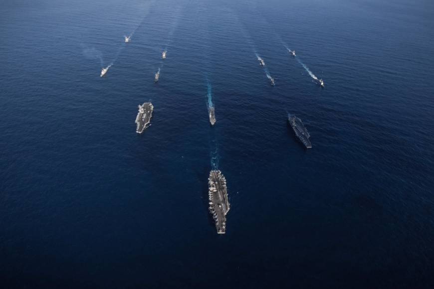 Japanese warships join three U.S. aircraft carriers for massive display of military might