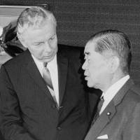 U.S. Ambassador to Japan Armin Meyer and Foreign Minister Kiichi Aichi meet at the Foreign Ministry in Tokyo on June 25, 1969. | KYODO