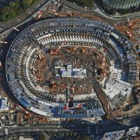 Construction continues at the new National Stadium, the main venue for the 2020 Tokyo Olympics, in Shinjuku Ward in late October. The government plans to deploy gas detectors in major cities as part of counterterrorism measures for the 2019 Rugby World Cup and the 2020 Olympics. | KYODO