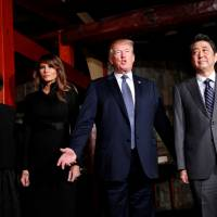 U.S. President Donald Trump and Japan's Prime Minister Shinzo Abe meet with their wives Melania and Akie for a dinner at a teppanyaki restaurant in Tokyo on Sunday evening during Trump's first presidential visit. | REUTERS