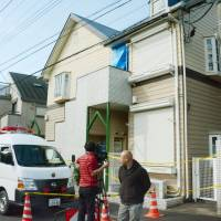The apartment in Zama, Kanagawa Prefecture, where nine dismembered bodies were recently discovered is shown on Sunday. | KYODO