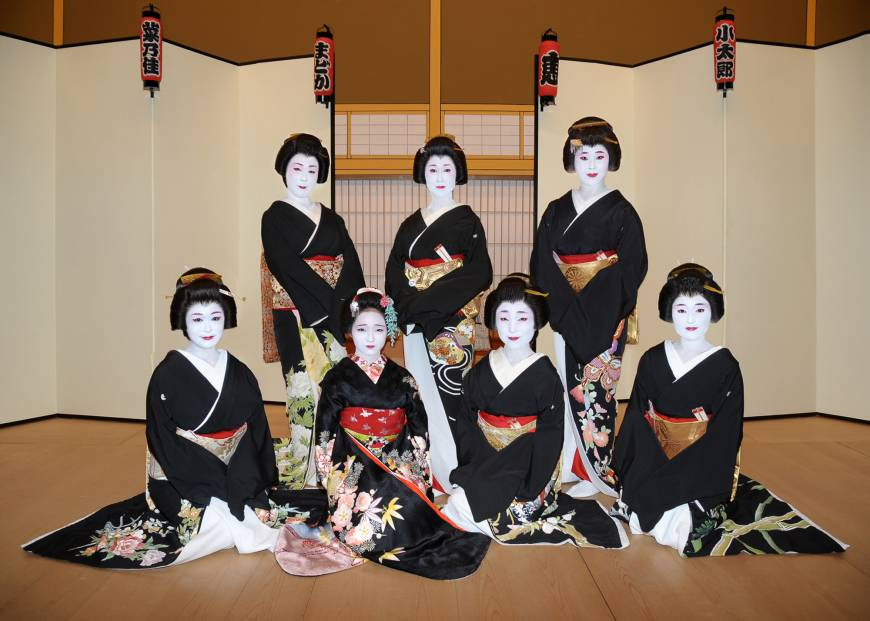 Geisha Megumi (center, back) poses with other geisha in Hachioji.