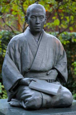 Intellectual activist: A statue of Yoshida Shoin sits in the grounds of Shoin Jinja.