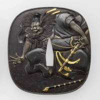 A pair of sword guards with Zhongkui and demon designs, crafted by Matsuo Gassan (19th century) | NEZU MUSEUM