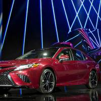 A 2018 Toyota Camry XSE  is displayed in January at the 2017 North American International Auto Show in Detroit. Cars.com says the Camry is the most 'made in the U.S.' car. | BLOOMBERG