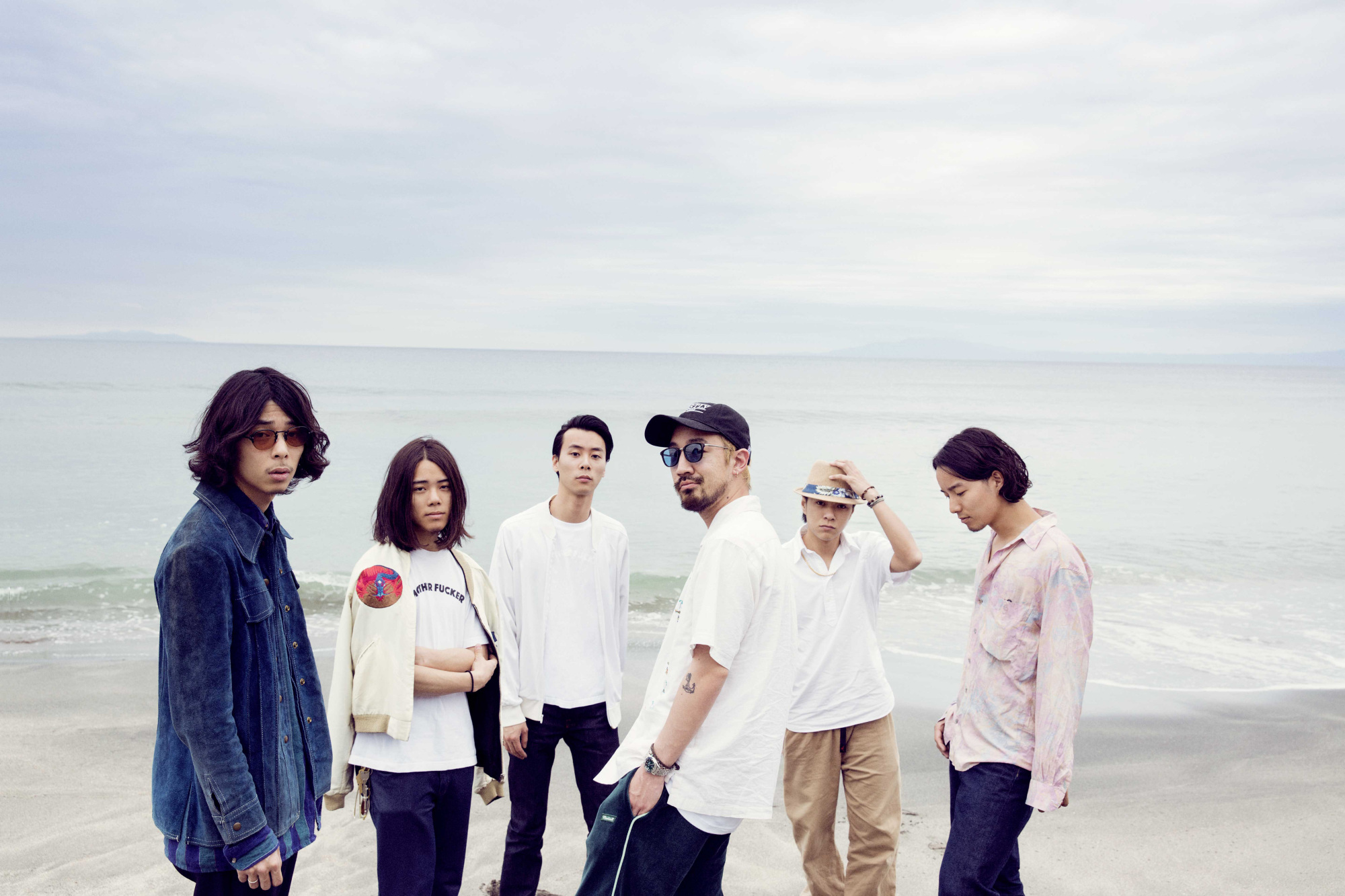 The kids are alright: Suchmos includes (from left) drummer Kento 'OK' Ohara, DJ Kaiki 'Kcee' Ohara, vocalist Yosuke 'Yonce' Kasai, bassist Hayata 'Hsu' Kosugi, guitarist Taiki 'Taiking' Totsuka and keyboardist Taihei Sakurauchi. The band's style of rock frequently incorporates other genres of music such as hip-hop and jazz.