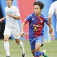 Takefusa Kubo has appeared for FC Tokyo in a J. League Cup game and also for the club's Under-23 team in J3. | KYODO
