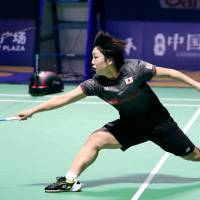 Akane Yamaguchi competes in the China Open final on Sunday in Fuzhou, China. Yamaguchi defeated Gao Fangjie 21-13, 21-15 for her fourth World Superseries title. | KYODO