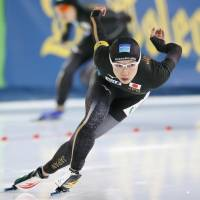 Nao Kodaira competes in the second round of the World Cup women's 1,000-meter speedskating race in Stavanger, Norway, on Friday. Kodaira won gold. | KYODO