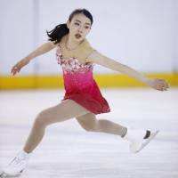 Rika Kihira performs her free-skate routine on Sunday at the Japan Junior Championships in Maebashi, Gunma Pref. | KYODO