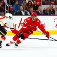 Red Wings trounce Flames in fight-marred game