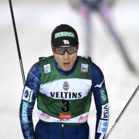 Akito Watabe competes in the Nordic combined at the Ruka Nordic World Cup in Kuusamo, Finland, on Friday. | AP