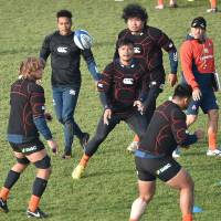 Japan players practice on Wednesday in Toulouse, France, ahead of Saturday's game against France. | AFP-JIJI