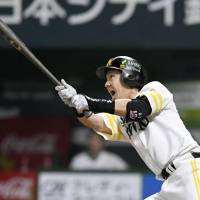 SoftBank's Nobuhiro Matsuda homers in the second inning to put his team ahead 1-0. | KYODO