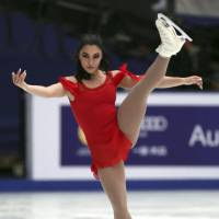 Canada's Gabrielle Daleman competes in the women's short program at the Cup of China on Friday in Beijing. Daleman is in first place with 70.65 points. | AP