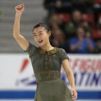 Kaori Sakamoto waves to the crowd after her free skate at Skate America on Sunday. Sakamoto finished second to earn her first senior Grand Prix medal. | USA TODAY / VIA REUTERS