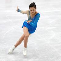 Satoko Miyahara performs her free skate program on Saturday at the NHK Trophy. She finished fifth overall in the two-day competition. | REUTERS
