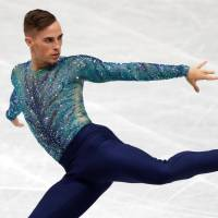 American Adam Rippon competes in the men's free skate. Rippon took second in the event. | REUTERS