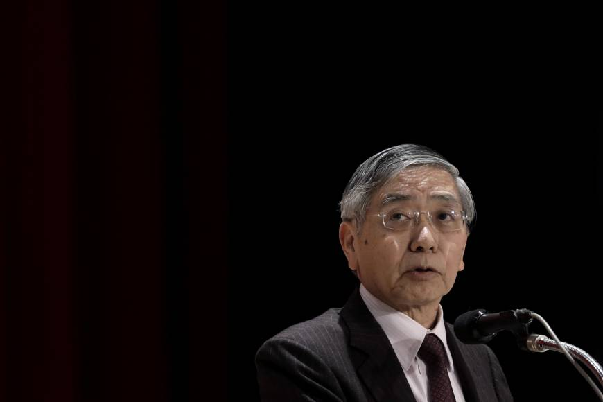 Bank of Japan Gov. Haruhiko Kuroda says the central bank will continue its 'powerful' monetary easing. | BLOOMBERG
