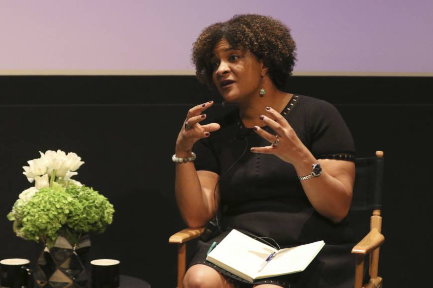 Fatima Goss Graves speaks at a discussion about sexual harassment and how to create lasting change from the scandal roiling Hollywood at United Talent Agency on Friday in Beverly Hills, California.   WILLY SANJUAN / INVISION / VIA AP