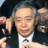Bank of Japan Gov. Haruhiko Kuroda takes questions from reporters Tuesday after meeting with Prime Minister Shinzo Abe. | KYODO