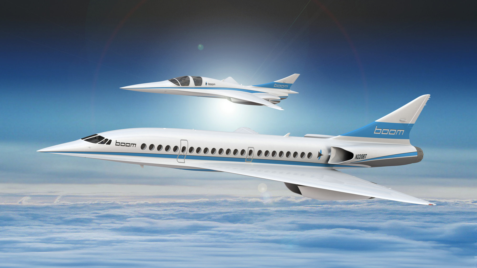 An artist's impression shows Boom's 55-seat supersonic aircraft (below) and Boom's XB-1 supersonic demonstrator in this undated handout obtained Monday. | REUTERS