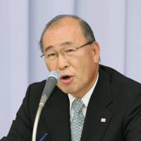 Former Toshiba Corp. President and Chairman Atsutoshi Nishida speaks at a news conference in Tokyo in 2009. He passed away Friday at the age of 73. | KYODO