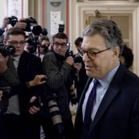 Sen. Al Franken, D-Minn., arrives on Capitol Hill in Washington Thursday morning. Franken said he will resign from the Senate in the coming weeks following a wave of sexual misconduct allegations and a collapse of support from his Democratic colleagues, a swift political fall for a once-rising Democratic star. | AP