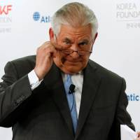 U.S. Secretary of State Rex Tillerson concludes his remarks on the U.S.-Korea relationship during a forum at the Atlantic Council think tank in Washington on Tuesday. | REUTERS