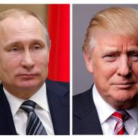 A combination of 2016 file photos shows Russian President Vladimir Putin (left) at the Novo-Ogaryovo state residence outside Moscow and U.S. President Donald Trump posing for a photo in New York City. | REUTERS
