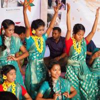 Girls who grew up on the streets of Dhaka perform the country's traditional dance, which they learned at Ekmattra's school. | COURTESY OF HIROKI WATANABE