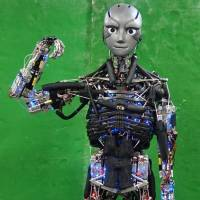 Kengoro, a humanoid robot developed by researchers at the University of Tokyo, can do stretches like humans and even artificially perspire. Asano, Okada, Inaba, Sci. Robot. 2, eaaq0899 (2017)