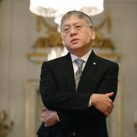 Kazuo Ishiguro, the 2017 winner of the Nobel Prize in literature, speaks to reporters about the recognition he has received, on Wednesday in Stockholm, ahead of Sunday's award ceremony. | KYODO