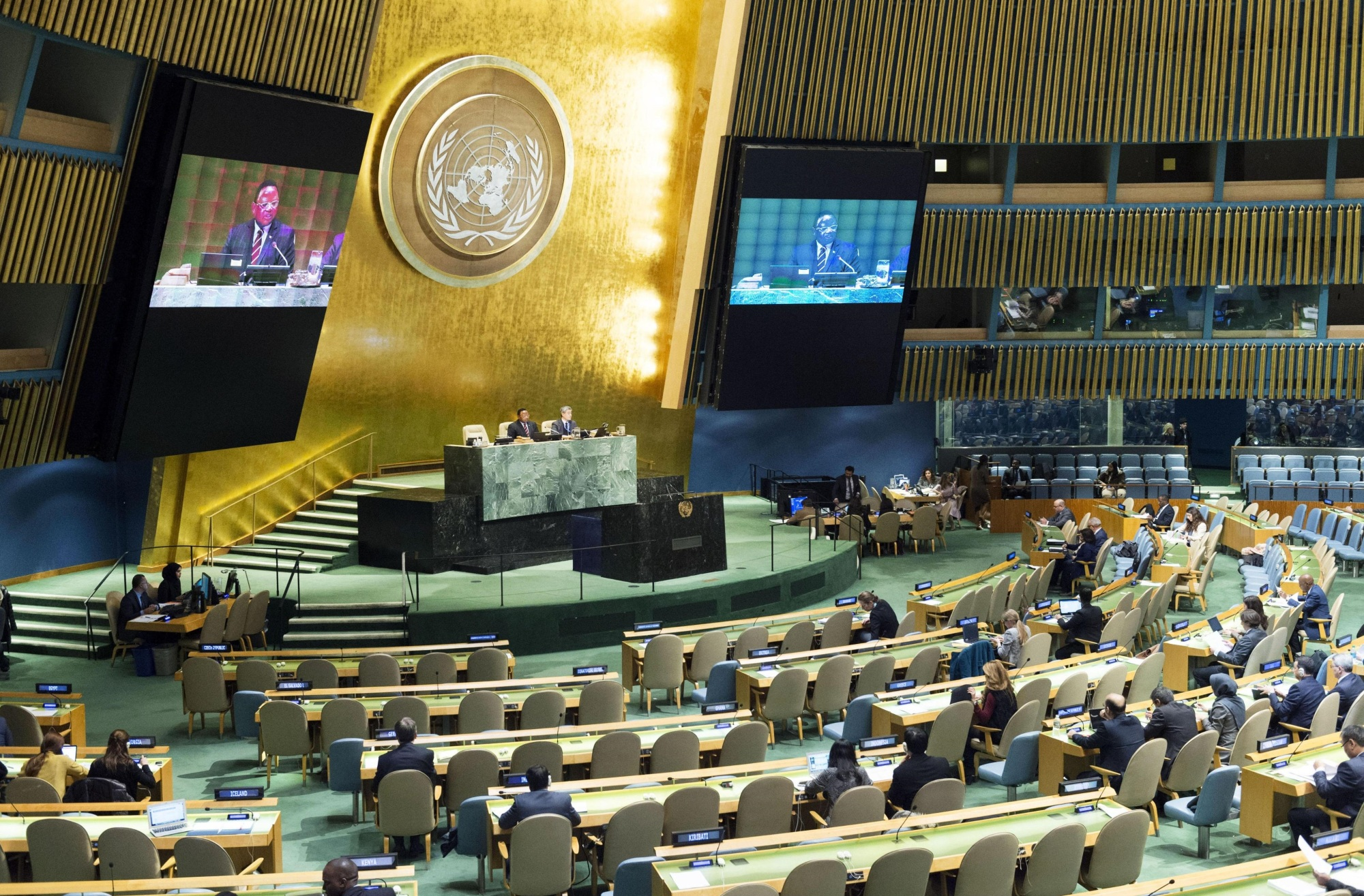 The U.N. General Assembly endorses a Japanese anti-nuclear resolution in New York on Monday. | U.N. / VIA KYODO