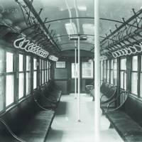 The interior of the Ginza Line's original 1000 series, which was replicated by Tokyo Metro and put into service last year. | COURTESY OF TOKYO METRO