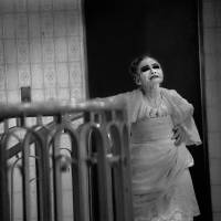 'Yokohama Mary' stands by a flight of stairs in the GM Building in the backstreets of Isezakicho.   HIDEO MORI