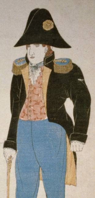 a woodblock print of Commodore Matthew Perry in uniform (circa 1850-1900).
