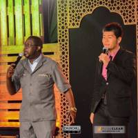 Live from Nairobi: Saku Yanagawa is introduced on Kenya's 'Churchill Show,' one of the most high-profile TV shows in East Africa, on Nov. 9, 2017.   NTV, KENYA / VIA KYODO