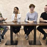 The daily grind: Musician Adam Graham, radio personality Jayda B, Sony Music Japan's Lauren Rose Kocher and Necronomidol manager Ricky Wilson swap stories about working in the Japanese music industry at the office of The Japan Times. | YOSHIAKI MIURA