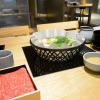 Sexing up a simple affair: The shabu-shabu lunch set at Hyoto Kyoto, which attempts to raise the bar on this meat dish. | J.J. O'DONOGHUE