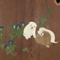 'Morning Glories and Puppies' (detail) by Maruyama Okyo (1784) | TOKYO NATIONAL MUSEUM