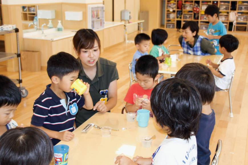 Children at day care in Funabashi, Chiba Prefecture.