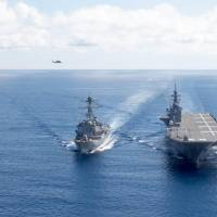 SOUTH CHINA SEA (May 27, 2017) The Arleigh Burke-class guided-missile destroyer USS Dewey (DDG 105) transits the South China Sea with the Japan Maritime Self-Defense Force ship JS Izumo (DDH 183). Dewey is part of the Sterett-Dewey Surface Action Group and is the third deploying group operating under the command and control construct called 3rd Fleet Forward. U.S. 3rd Fleet operating forward offers additional options to the Pacific Fleet commander by leveraging the capabilities of 3rd and 7th Fleets. (U.S. Navy Photo by Mass Communication Specialist 3rd Class Kryzentia Weiermann/ Released) | COMMANDER, U.S. 3RD FLEET